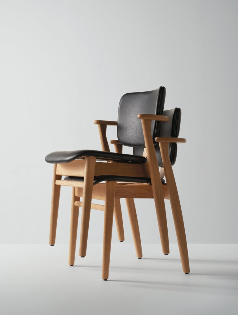 Ilmari Tapiovaara Domus Chair in Natural Oak and Leather for Artek 3