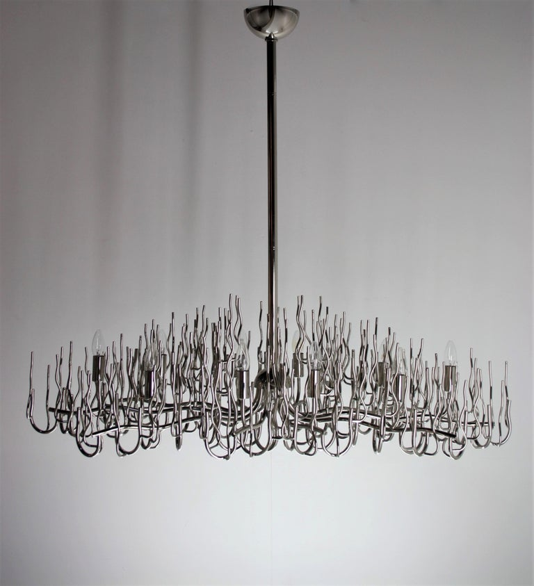 Exceptional Large Chromed Bush Chandelier, Italy, 1970s For Sale 3