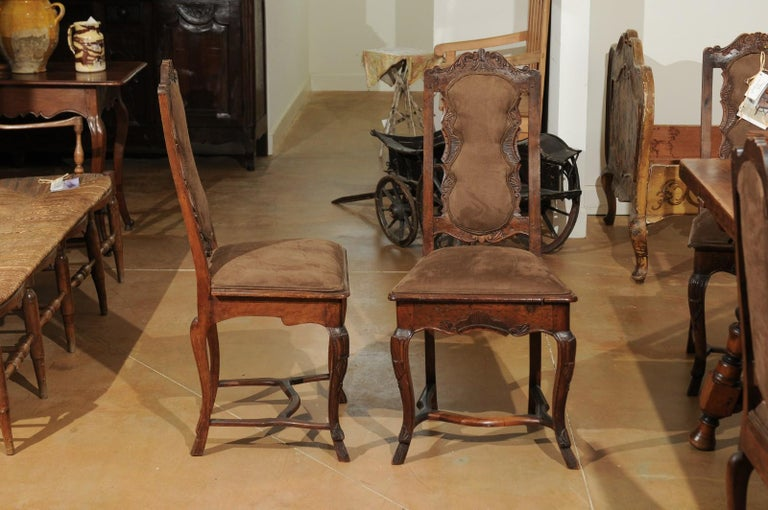 Italian 18th Century Roman Rococo Dining Room Side Chairs with Suede Upholstery For Sale 4