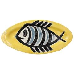 Ceramic Decorative Platter with Fish Motif by Jacques Pouchain, Poët-Laval