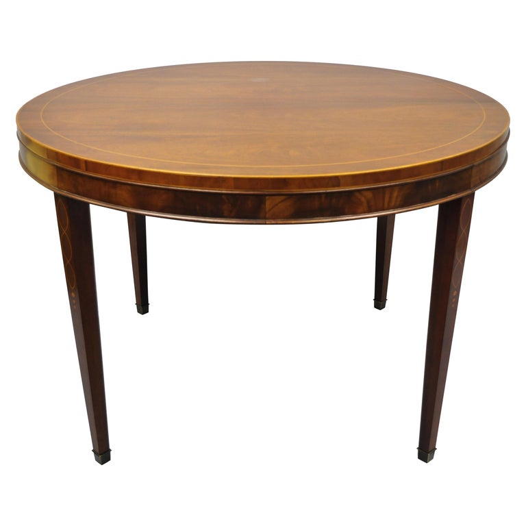 Drexel Wallace Nutting Round Flame Mahogany Inlaid Dining