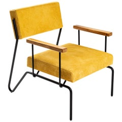 "Contemporary Armchair in Steel, Leather and Wood, ""Sandra"" by Samuel Lamas"