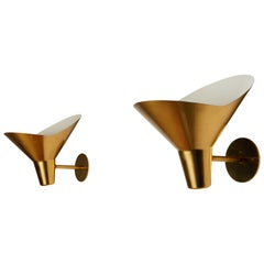 Pair of Brass Sconces by Hans Bergström for Ateljé Lyktan