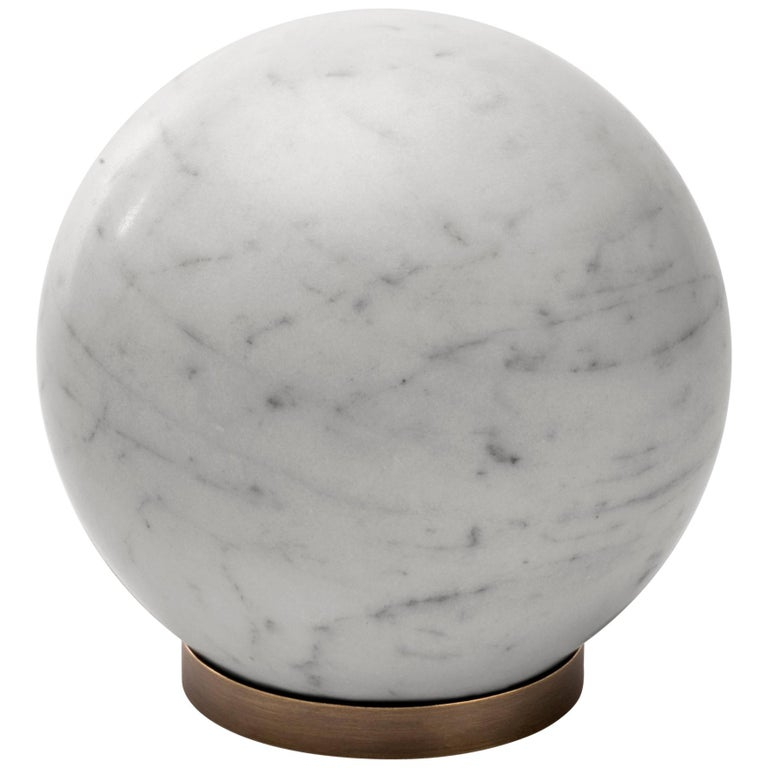 Salvatori Gravity Sphere in Bianco Carrara Marble with Brass Base For Sale
