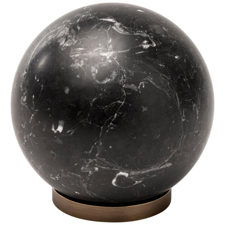 Salvatori Gravity Sphere in Nero Marquina Marble with Brass Base For Sale