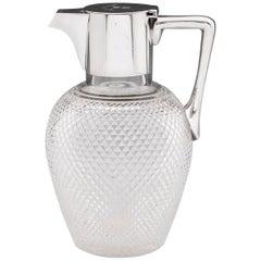 Sterling Silver Lead Crystal Claret Water Jug