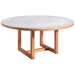 Salvatori Span Round Dining Table in Bianco Carrara & Cherrywood by John Pawson
