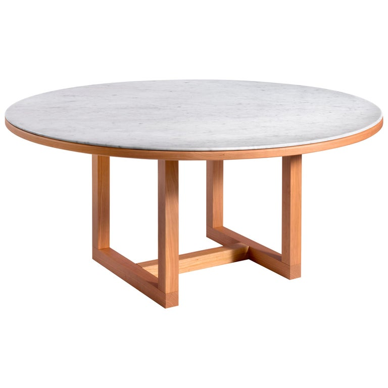 Salvatori Span Round Dining Table in Bianco Carrara & Cherrywood by John Pawson For Sale