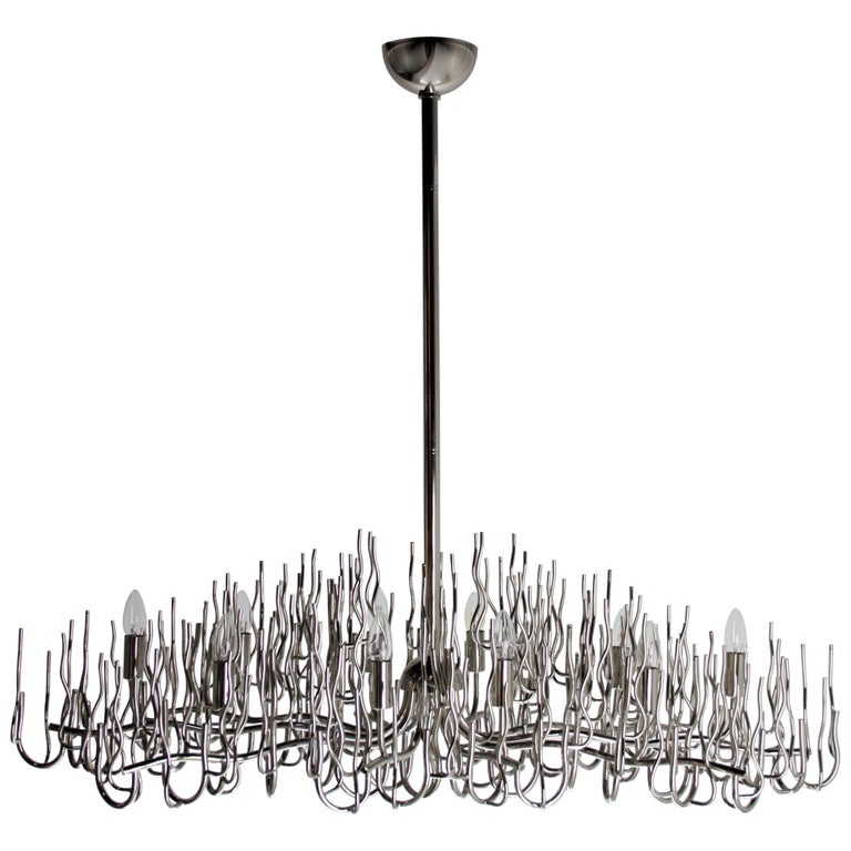Exceptional Large Chromed Bush Chandelier, Italy, 1970s For Sale