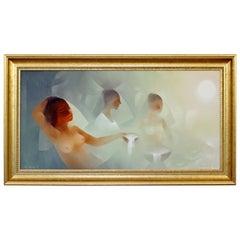 Mid-Century Modern Oil on Canvas Painting Nude Women by Jorge Edgardo