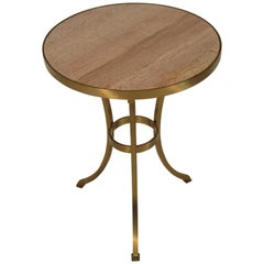 Solid Brass Gueridon Drink Table with Marble Top