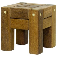 Stool in Hardwood and Brass. Brazilian Contemporary Design by O Formigueiro.