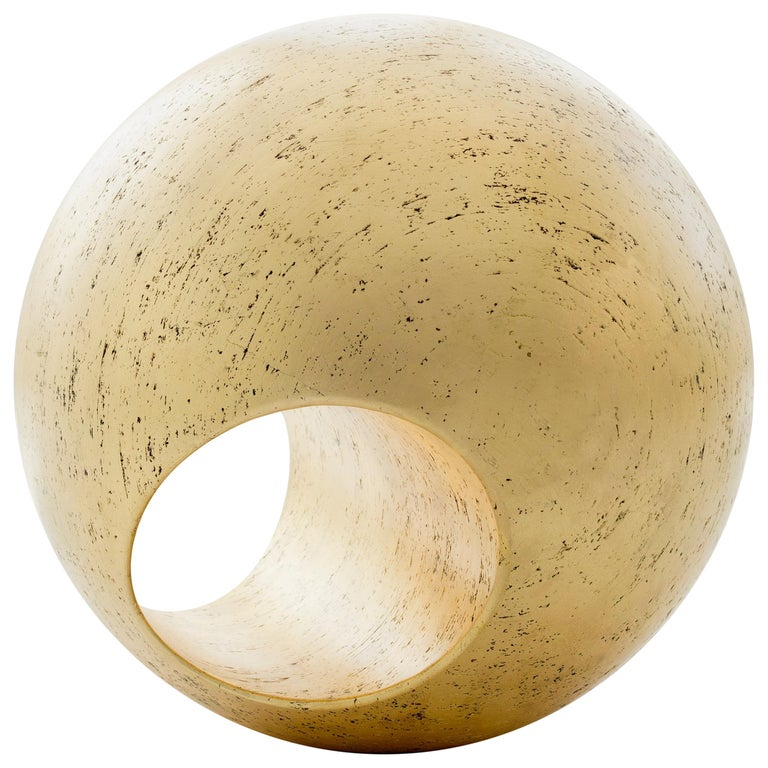 """24""""R Gold Leaf Sculptural Wood Sphere by May Furniture For Sale"""