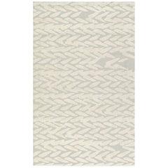 Brabbu Wari Handgetufteter Tencel Teppich in Weiß