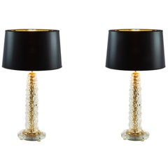 Pair of Italian Table Lamps in Transparent Murano Glass