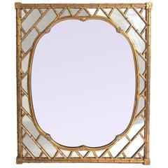 Glamorous Gilt Faux Bamboo Mirror, circa 1940s