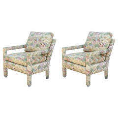 Set of Two Modern Barrel Back Lounge Chairs with Chinoiserie Landscape Fabric
