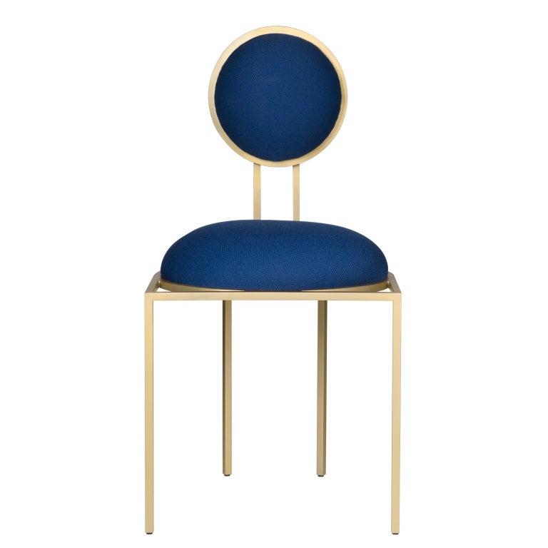 Fantastic Orbit Dining Chair In Blue Fabric Brass Coated Steel By Lara Bohinc In Stock Inzonedesignstudio Interior Chair Design Inzonedesignstudiocom