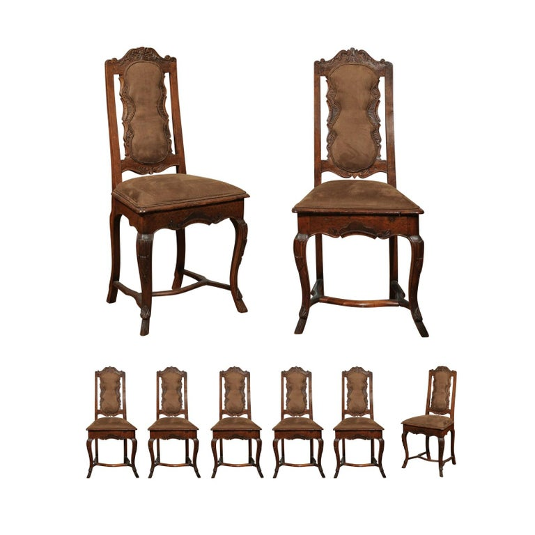 Italian 18th Century Roman Rococo Dining Room Side Chairs with Suede Upholstery For Sale