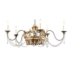 Rococo Style Five-Light Crystal Parcel-Gilt Crown Chandelier with Swoop Arms