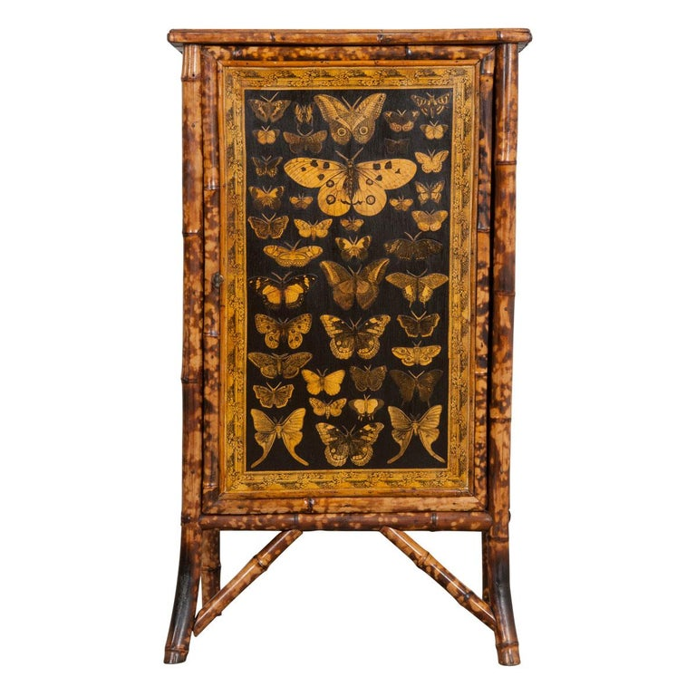 Moths In Kitchen Cabinets: English 19th Century Découpage Moth Bamboo Cabinet For