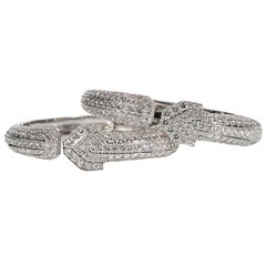 David Webb Pair of Hinged Diamond Bracelets