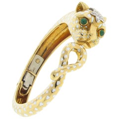 58989edf7e2 David Webb Panther Bangle 18 Karat Yellow Gold. David Webb Rolex Ladies  Diamond Gold Bracelet Wristwatch