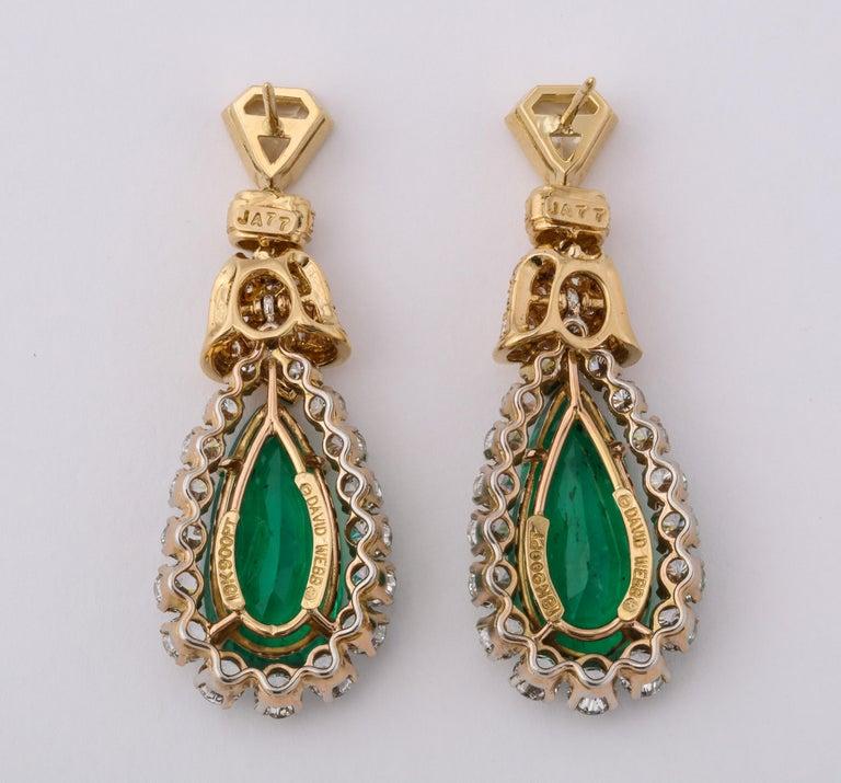Emerald Cut David Webb Pear Shaped Emerald Diamond Gold Earrings For Sale