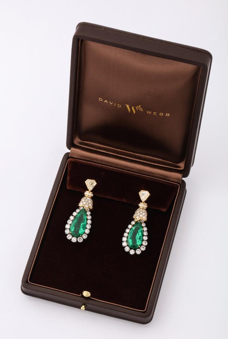 David Webb Pear Shaped Emerald Diamond Gold Earrings For Sale 1