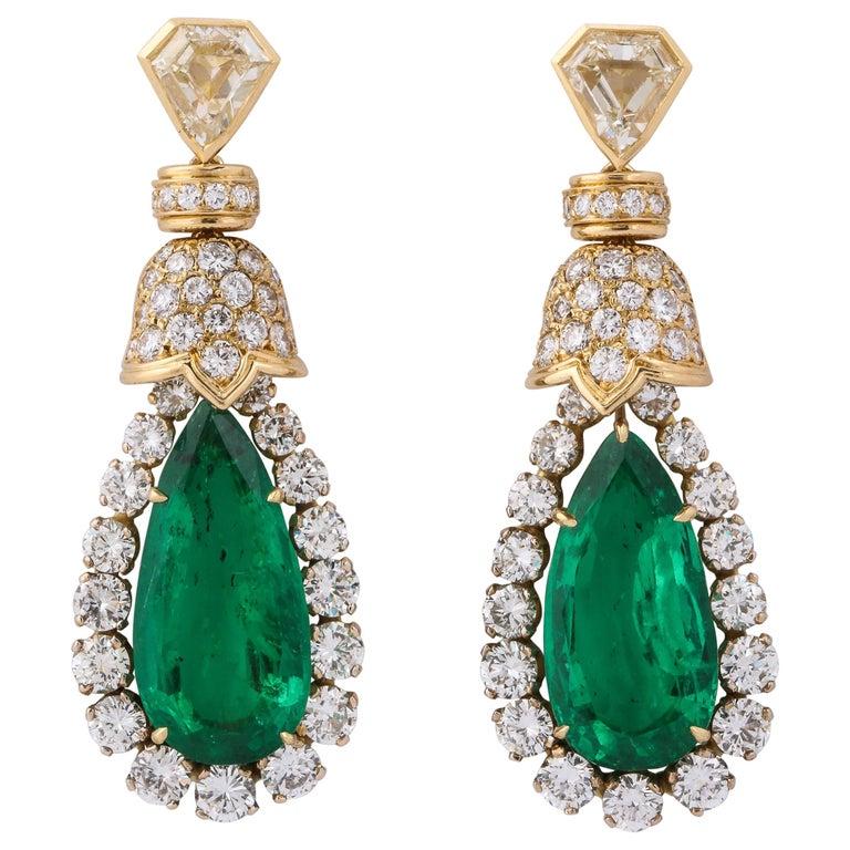 David Webb Pear Shaped Emerald Diamond Gold Earrings For Sale