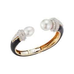 David Webb Pearl and Diamond Bangle Bracelet