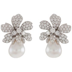 David Webb South Sea Pearl Earrings with Diamonds