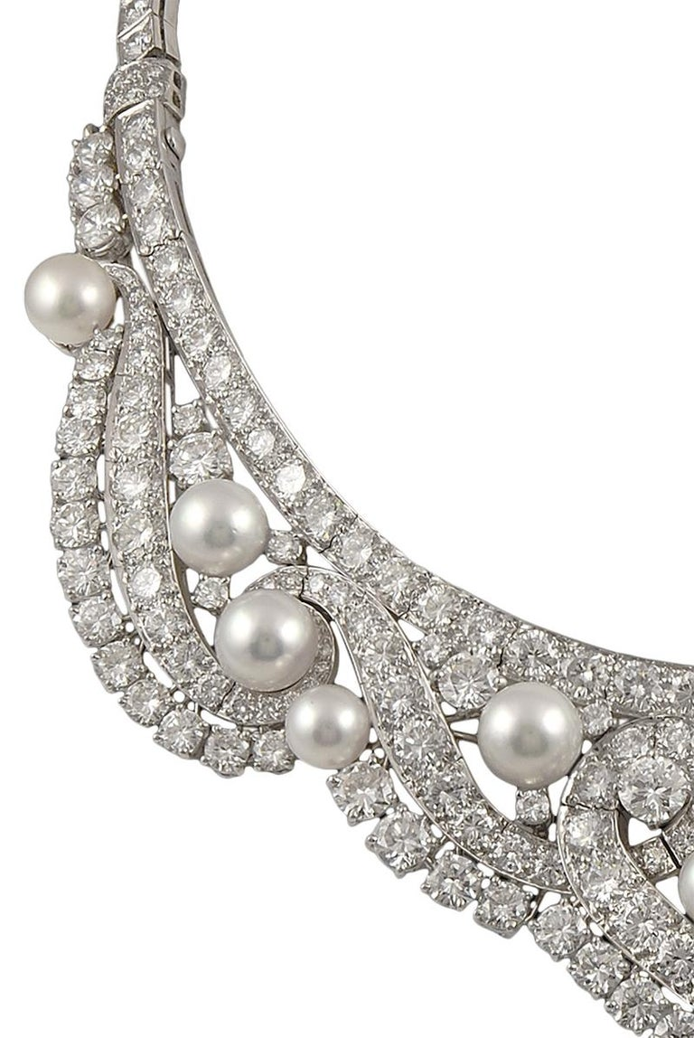 Brilliant Cut David Webb Diamond Pearl Gold Platinum Necklace / Tiara For Sale