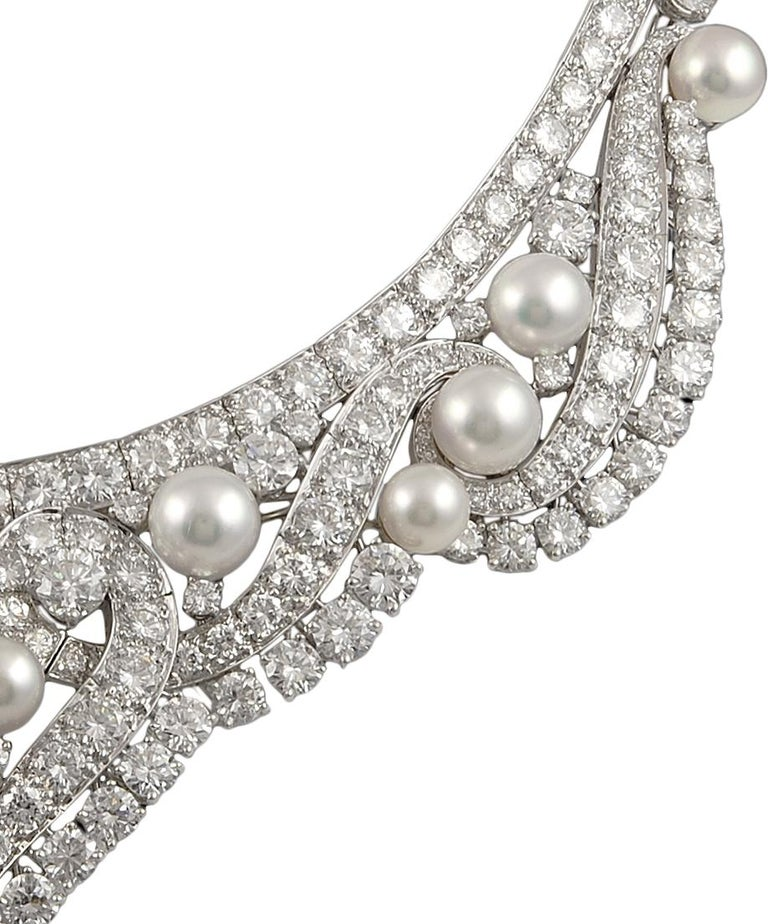 David Webb Diamond Pearl Gold Platinum Necklace / Tiara In Good Condition For Sale In New York, NY