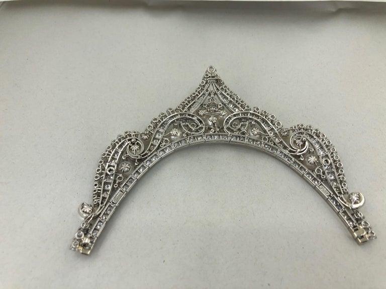 Women's David Webb Diamond Pearl Gold Platinum Necklace / Tiara For Sale