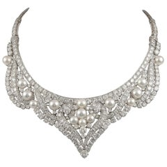 David Webb Diamond Pearl Gold Platinum Necklace / Tiara