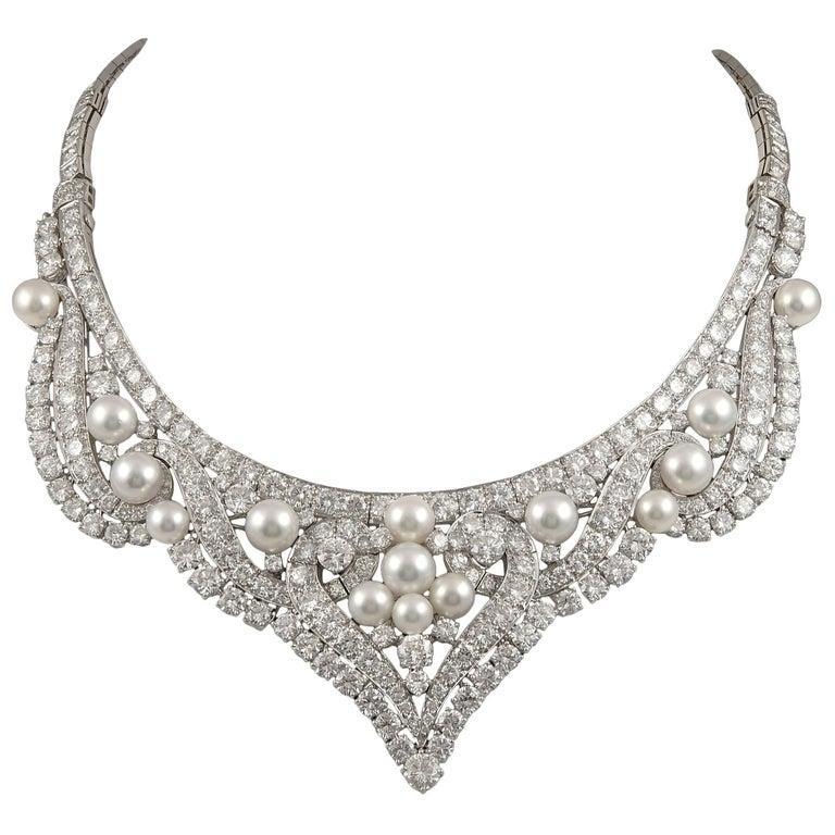 David Webb Diamond Pearl Gold Platinum Necklace / Tiara For Sale