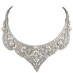 David Webb Pearl and Diamond Necklace/Tiara