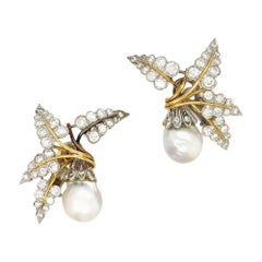 David Webb Pearl and Diamond Palm Clip Earrings