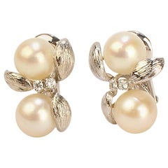 David Webb Pearl, Diamond, and 14 Karat White Gold Clip Earrings