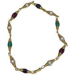 David Webb Pearls, Emerald, Ruby, Sapphires Necklace