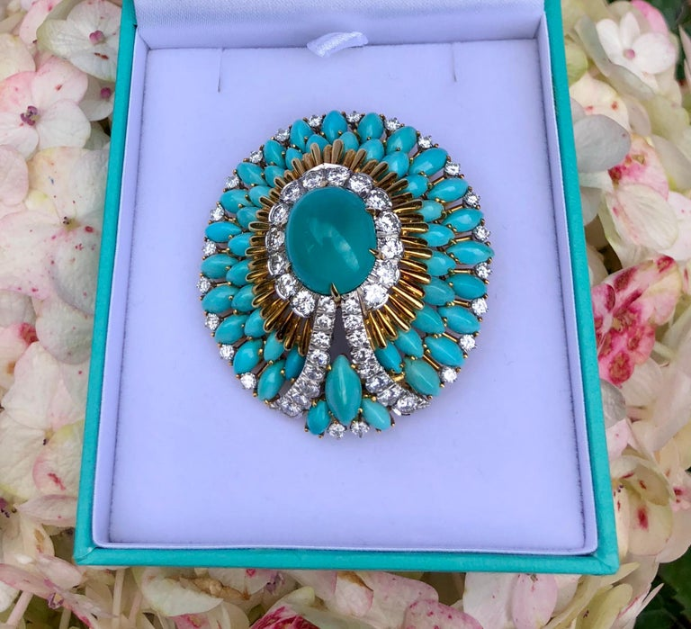 Magnificently elegant, handmade large, 18 karat yellow gold Art Deco style, estate brooch pin features a top quality robin's egg blue color oval cut Persian turquoise stone weighing approximately 10.9 carats.  This fantastic stone is talon prong set