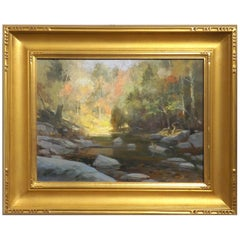 Thomas Buechner Oil Painting on Canvas of a Stream in the Woods