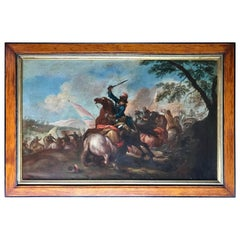 Old Master Painting Flemish 17th Century, Cavalry Charge Battle Scene