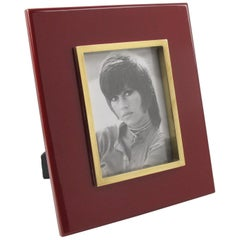 French Jean Claude Mahey Oxblood Lacquer and Polished Brass Picture Photo Frame