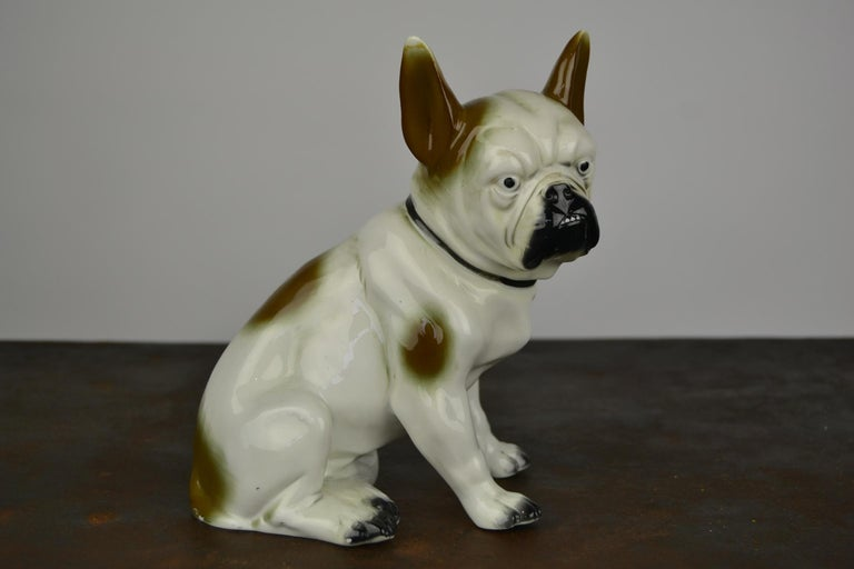 Art Deco Sitzendorf Porcelain French Bulldog Figurine For Sale 4