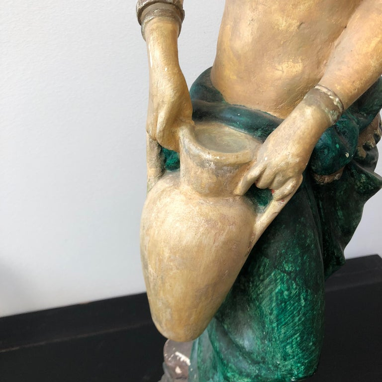 Italian Plaster Statue of a Woman with an Amphora, circa 1930 For Sale 4
