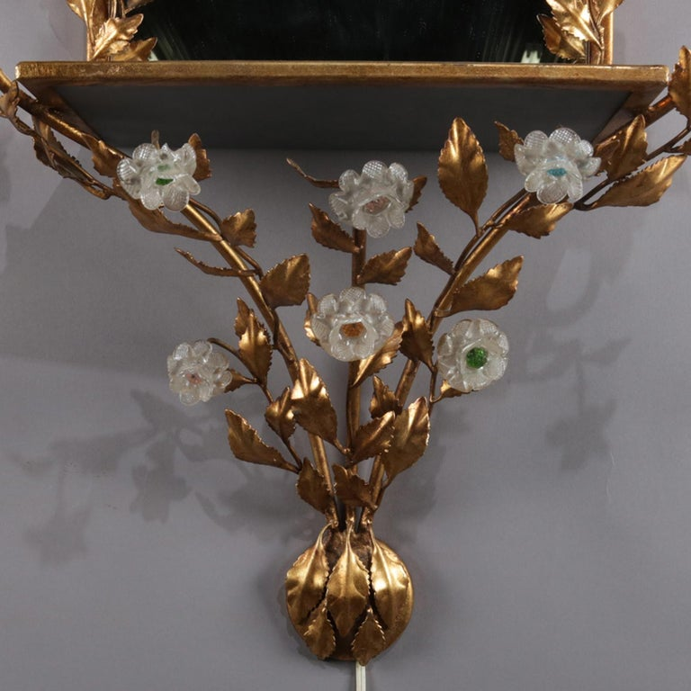 Vintage Italian Gilt Foliate & Crystal Double Candle Light Sconce Display For Sale 4