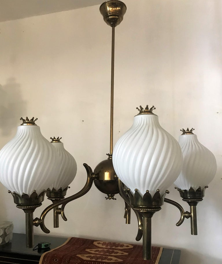 Published Italian Chandelier by Angelo Lelli for Arredoluce, circa 1950 For Sale 4