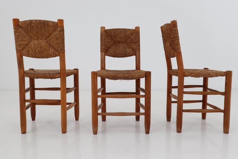 "Three ""Bauche"" Chairs by Charlotte Perriand for Steph Simon, France 1950s For Sale 3"